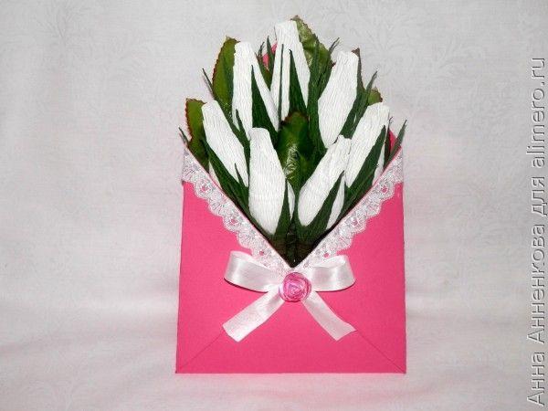 Бутоны роз в конверте