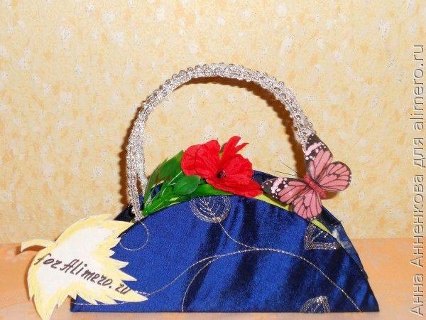 Сумочка для цветов из гофрированной бумаги