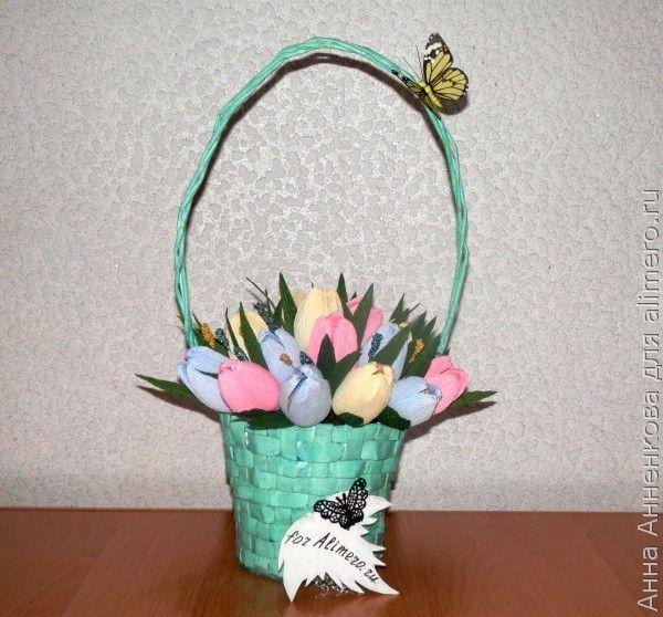 Закрытый тюльпан из гофробумаги