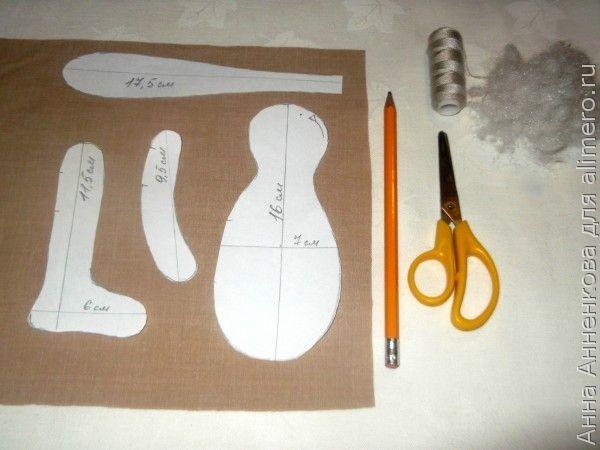 Выкройка свадебных кукол тильда
