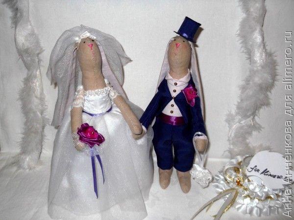 Куклы Тильда — зайцы-молодожены