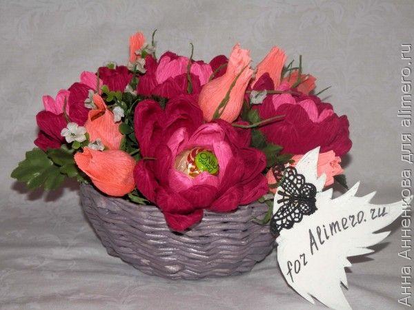 Цветы из гофрированной бумаги георгины