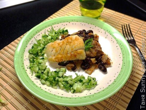 Треска с тёплым салатом из фасоли и фенхеля
