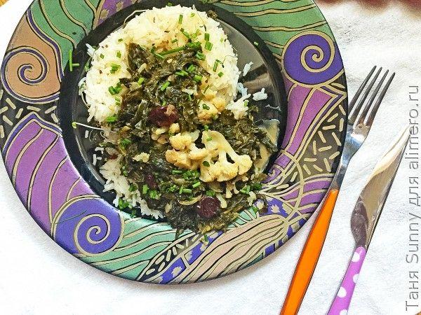 Кейл в ореховом соусе с рисом