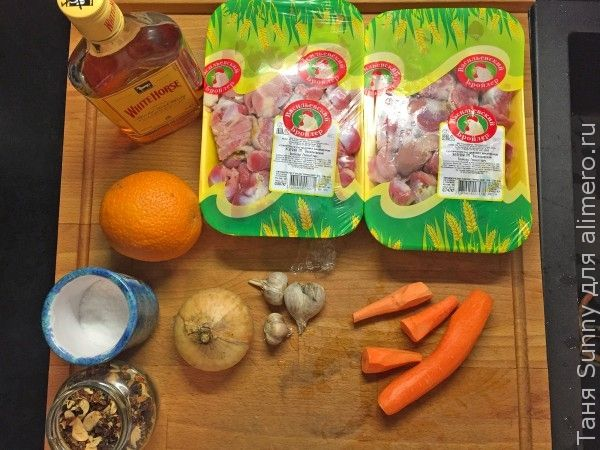 Куриные желудочки с виски и апельсином