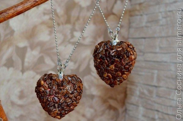 Как сделать  сердечки из кофейных зёрен