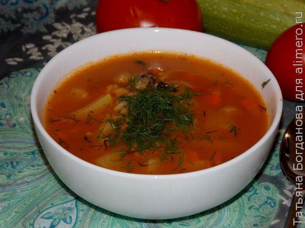 Суп с рисом и томатной пастой