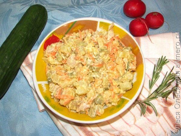 Сытный салат со свиным рубцом