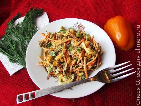 Салат из куриных сердечек с морковью по-корейски
