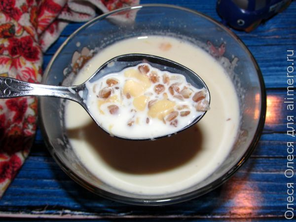 молочный суп с гречкой и сыром