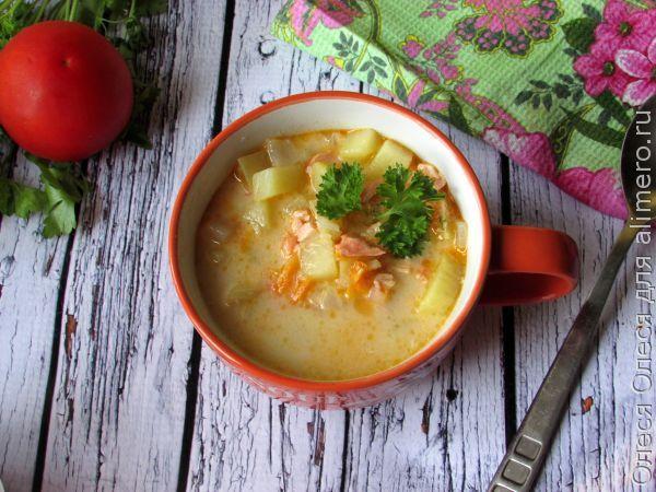 молочный суп с семгой