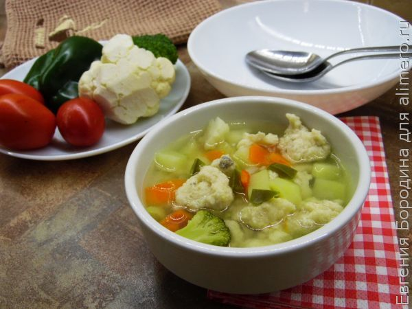 Суп с рыбными клецками
