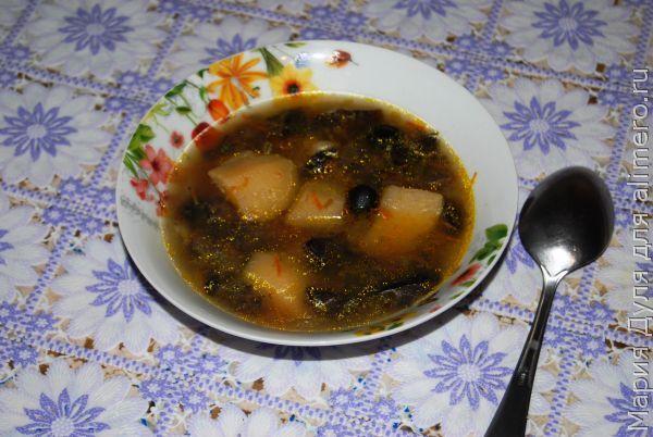 Грибной суп с маслинами