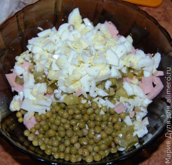 Классическое оливье с солёным огурчиком