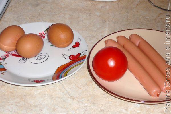 Омлет с помидорами и сосисками