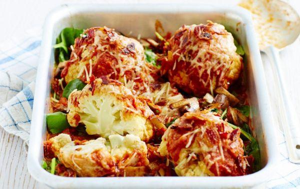 картошка с цветной капустой и грибами